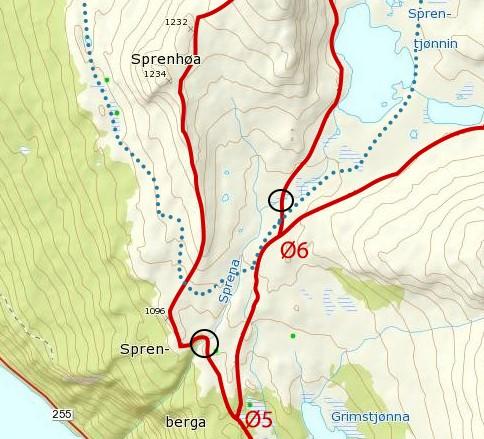 Bruplasseringer (svarte ringer på kartet)